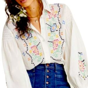 Anthropologie Perry Embroidered Floral Peasant